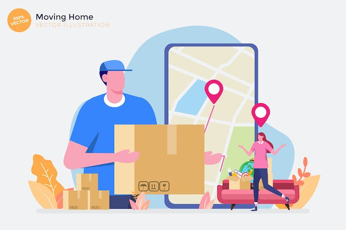 Thumbnail for Moving Home Flat Vector Illustration