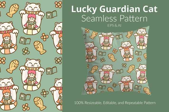 Lucky Guardian Cat Pattern