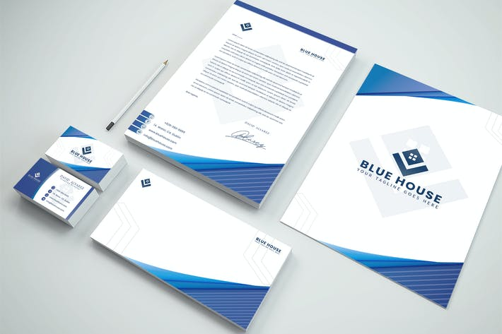 Thumbnail for Blue House Brand Identity & Stationery Pack
