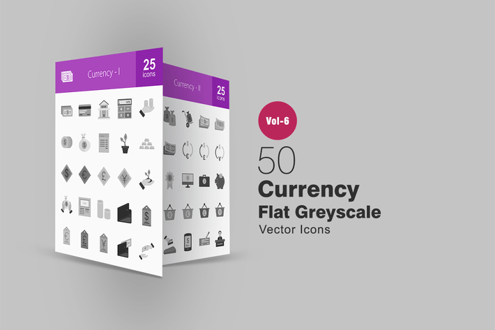 Thumbnail for 50 Currency Flat Greyscale Icons