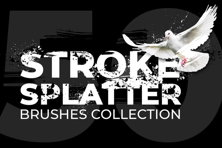50 Stroke Splatter Photoshop Brushes Collection