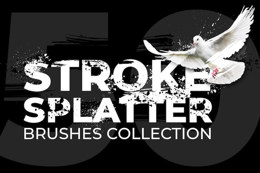 50 Stroke Splatter Photoshop Brushes Collection