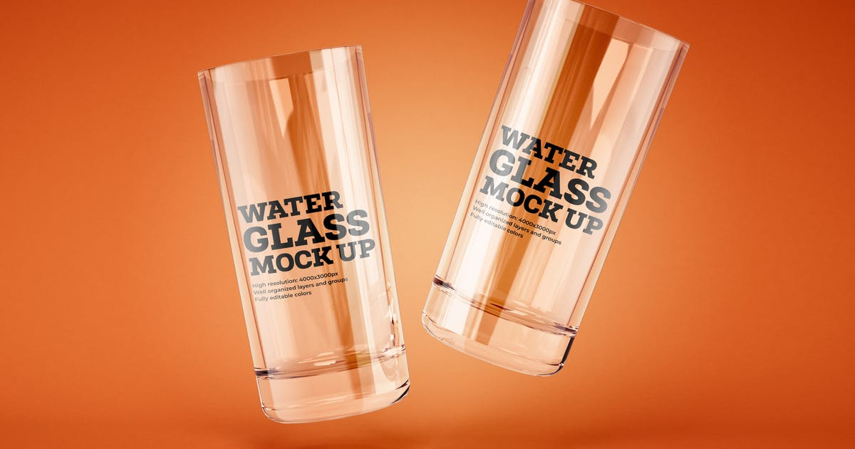 Download Water and Cocktail Glass Mockup by deeplabstudio