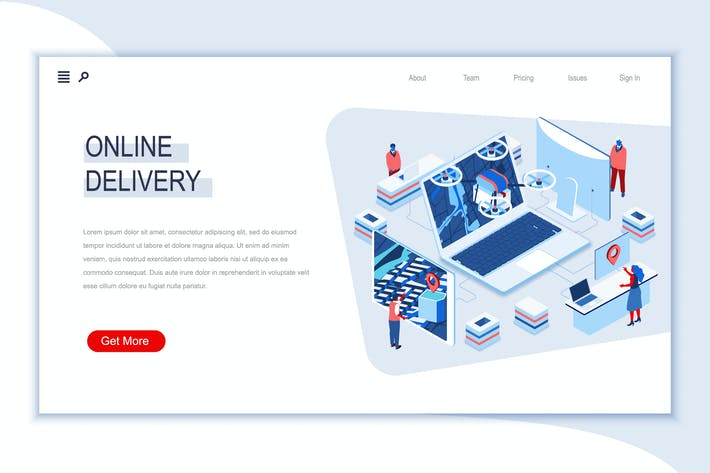 Online Delivery Isometric Banner Flat Concept
