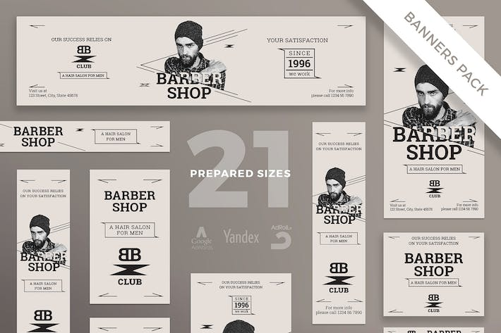 Thumbnail for Barbershop Services Banner Pack Template