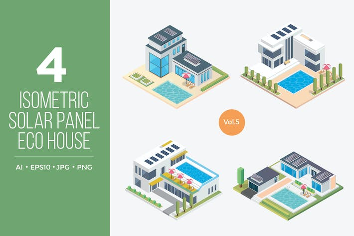 Thumbnail for Isometric Solar Panel Eco House Vector Set 5