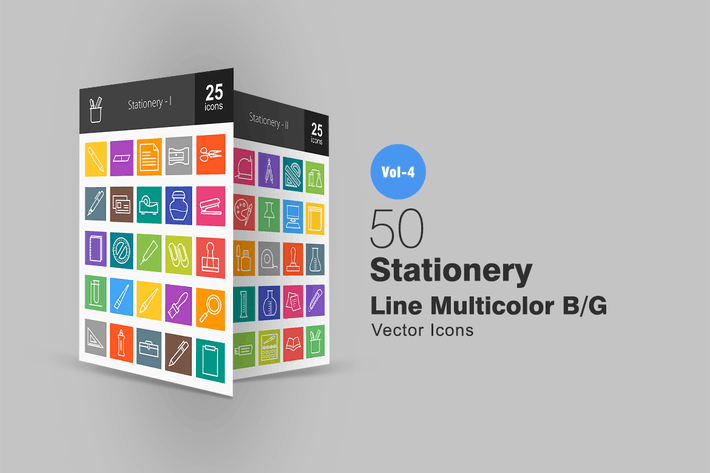 Thumbnail for 50 Stationery Line Multicolor Icons
