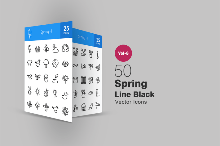 Thumbnail for 50 Spring Line Icons