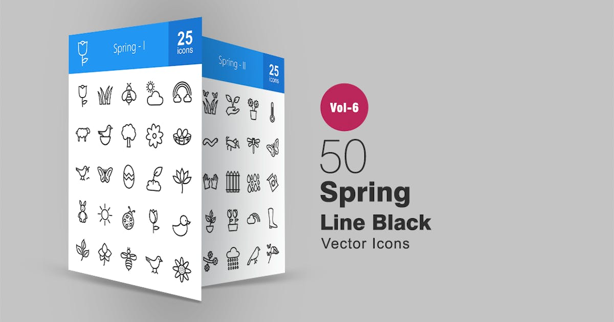 50 Spring Line Icons by IconBunny