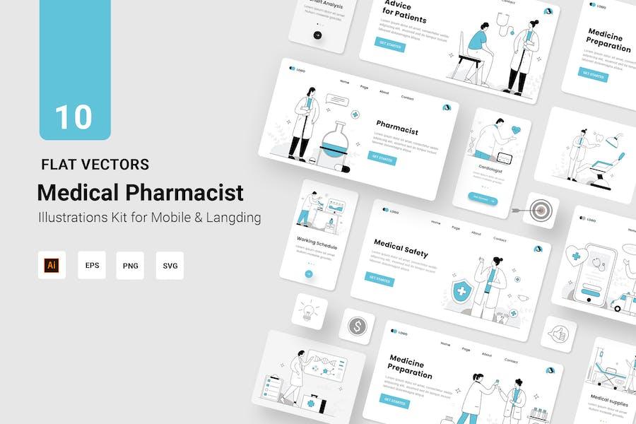 Medical Vectors Illustration Flat Line