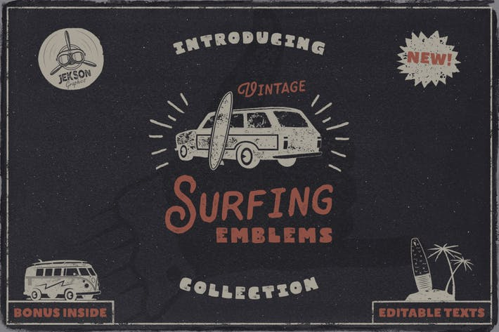 Thumbnail for Logo Vintage Surf & Summer Fun Set d'étiquettes