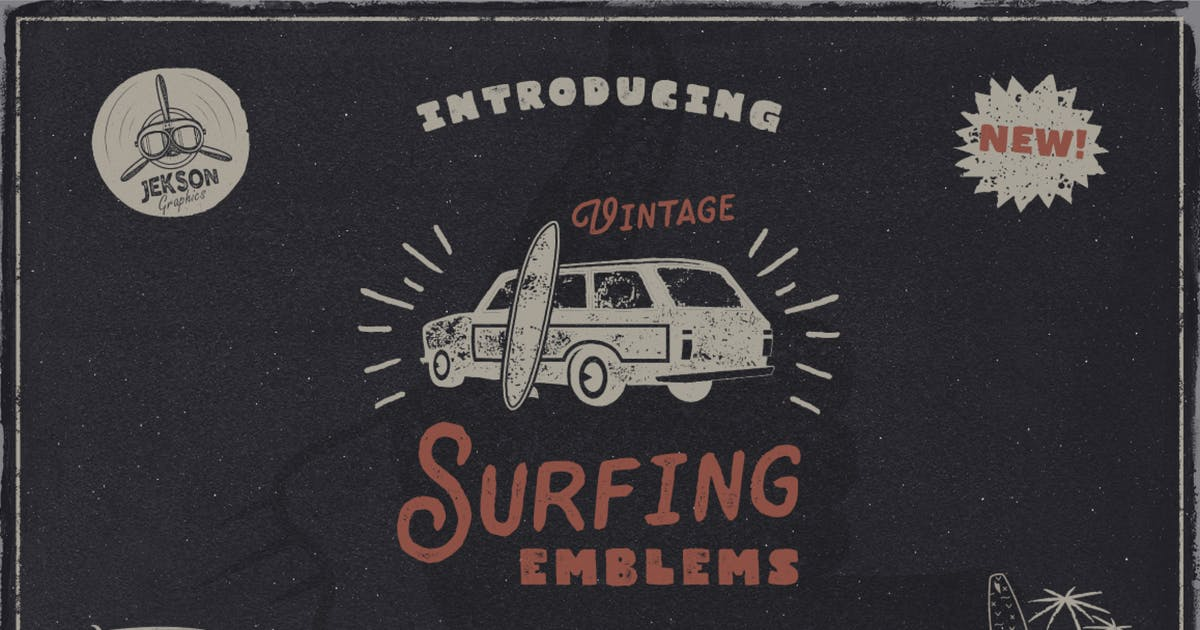 Download Vintage Surfing Logo / Summer Fun Label Set by JeksonJS