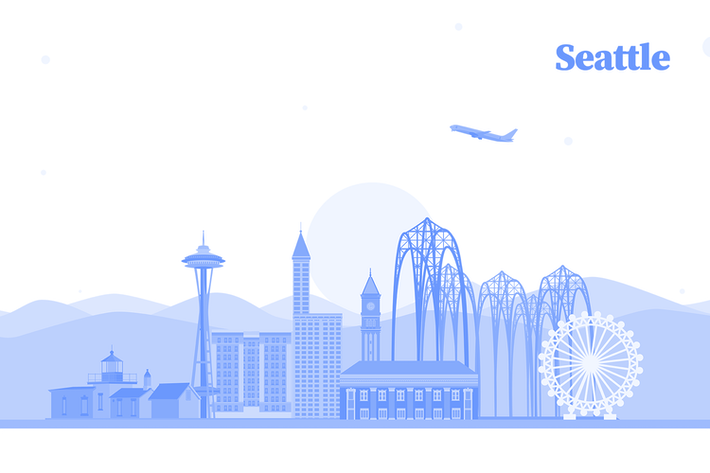 Thumbnail for Vector City Illustration - Seattle Skyline