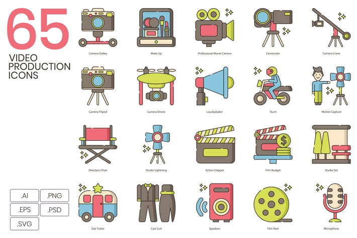 Thumbnail for 65 Video & Film Production Icons | Hazel Series