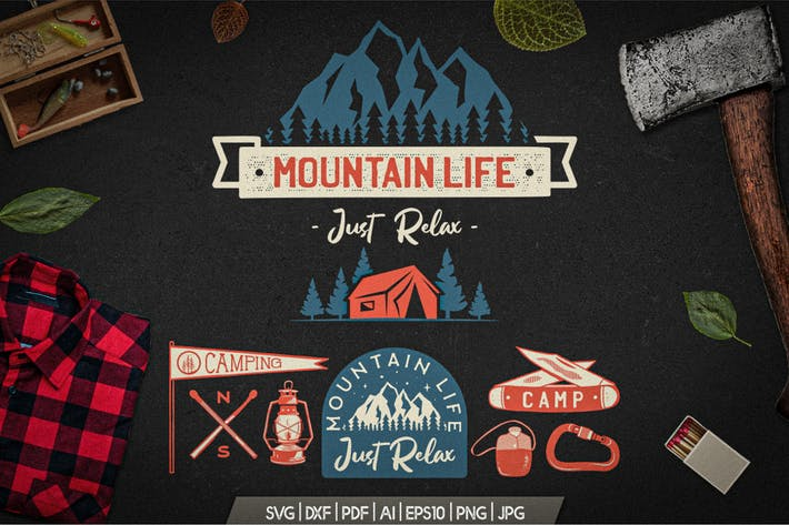 Mountain Life Logos, Retro Camping Badges T-Shirt