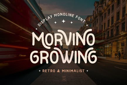 Morvino Growing - Retro Monoline font