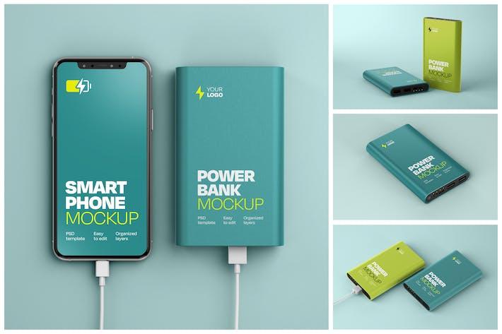 Thumbnail for Glossy Power Bank Mockup Set