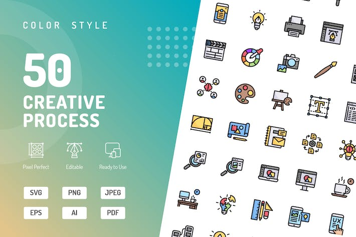 Thumbnail for Creative Process Color Icons