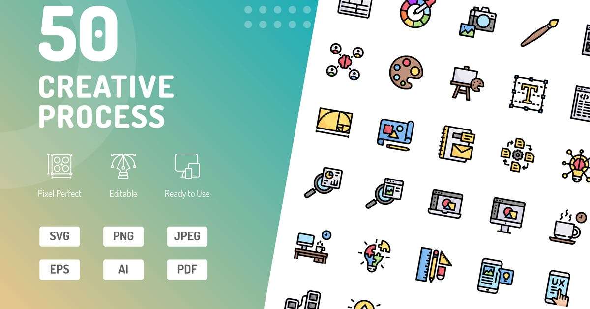 Download Creative Process Color Icons by kerismaker