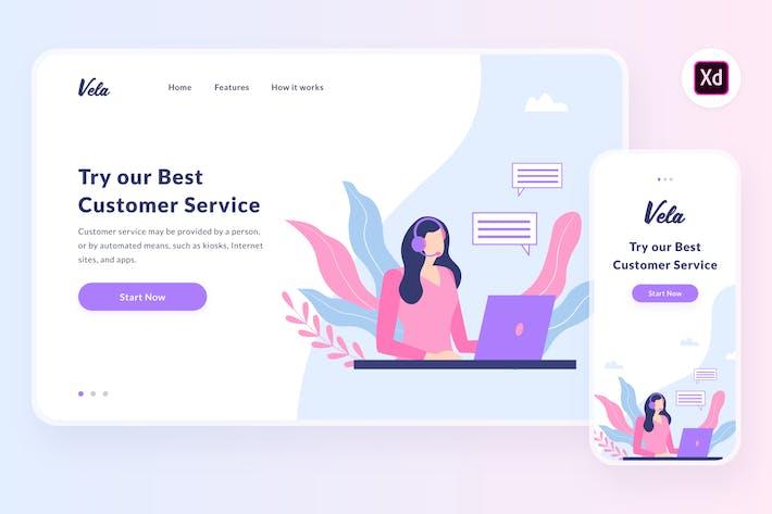 Thumbnail for Vela customer service illustration (Adobe XD, SVG)