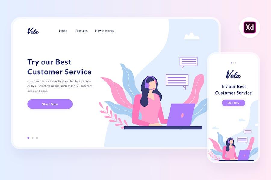 Vela customer service illustration (Adobe XD, SVG)