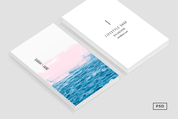 Thumbnail for Ocean + Pink Business Card Template