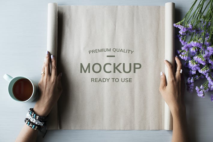 Thumbnail for Hands opening paper roll mockup