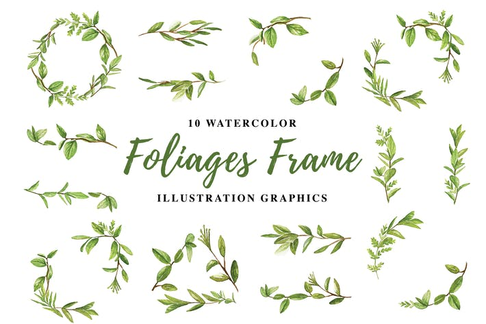 Thumbnail for 10 Watercolor Foliages Frame Illustration Graphics