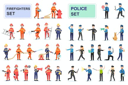 Police and Firefighters Flat People Characters