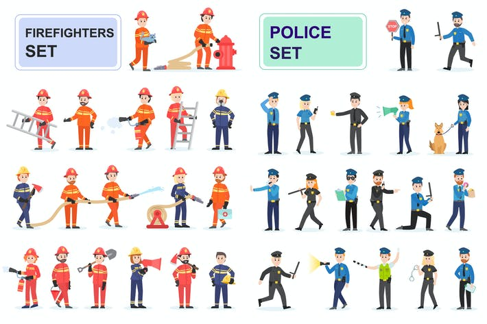 Thumbnail for Police and Firefighters Flat People Characters
