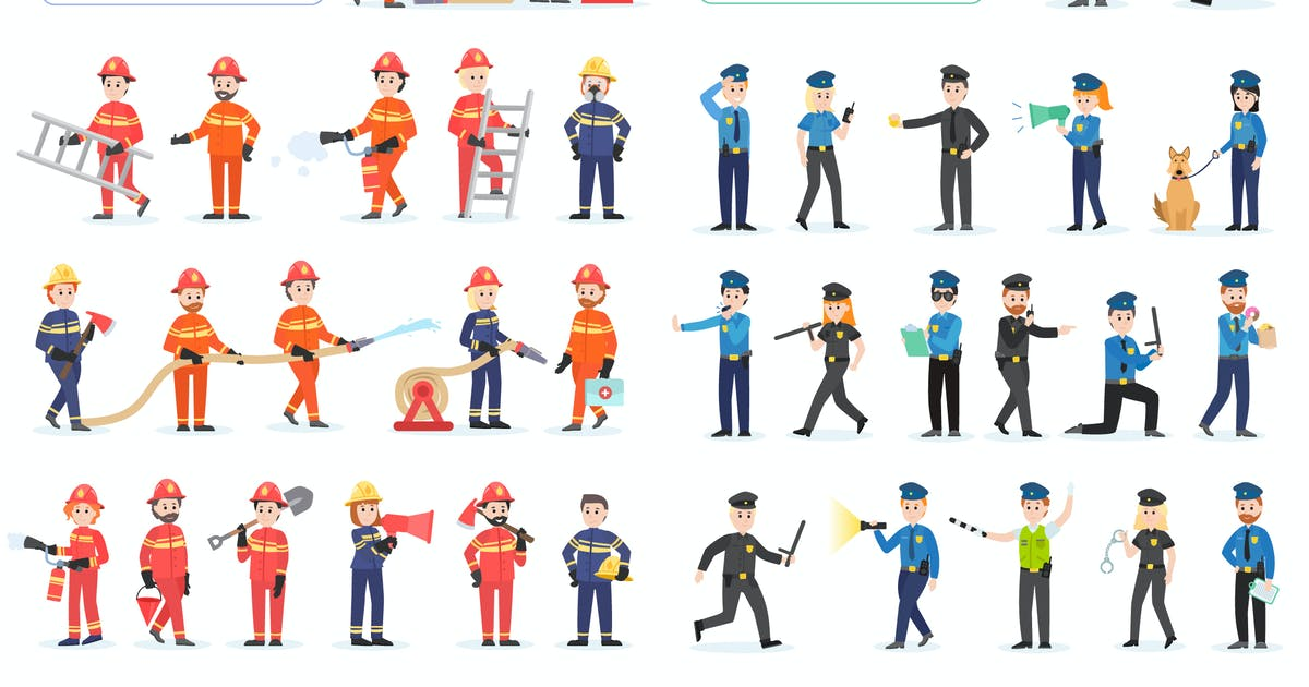 Download Police and Firefighters Flat People Characters by alexdndz