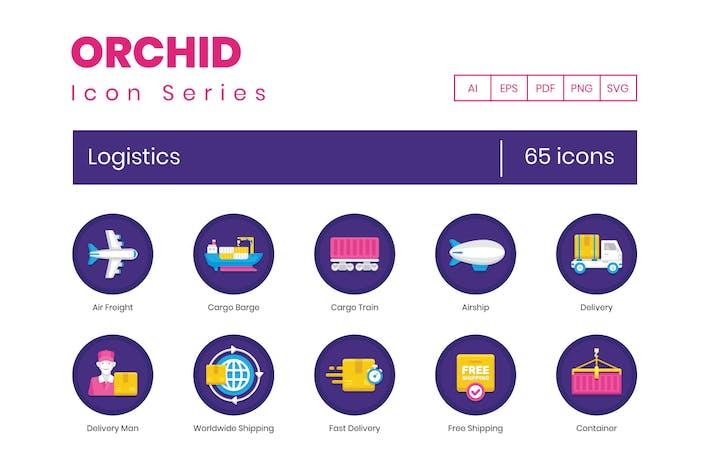 65 Flache Logistik-Icons