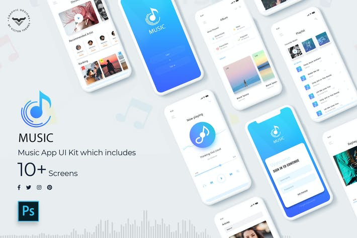 Cover Image For Music Mobile App UI Kit