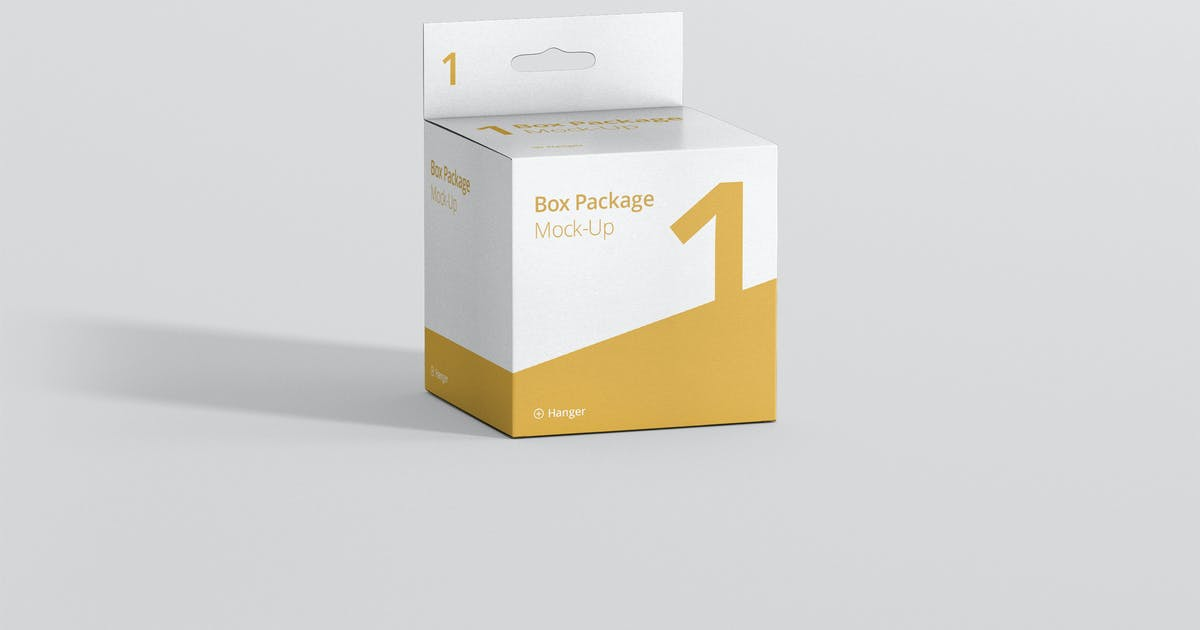 Package Box Mockup - Square with Hanger by visconbiz