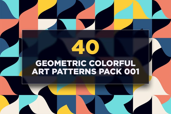 Thumbnail for 40 Geometric Colorful Art Patterns Pack 001