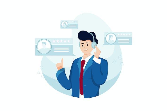 Thumbnail for Man listens to his customer feedback