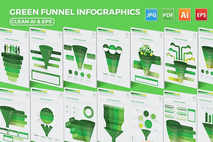 Cover Image For Green Filter Funnel Infographic Design