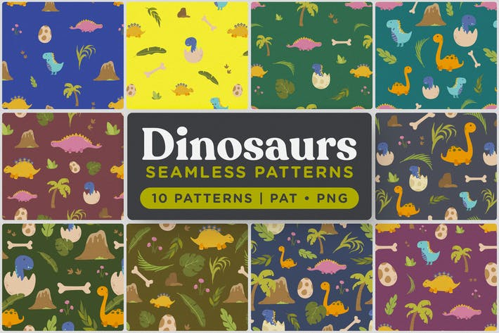 Thumbnail for Cute Dinosaurs Seamless Patterns