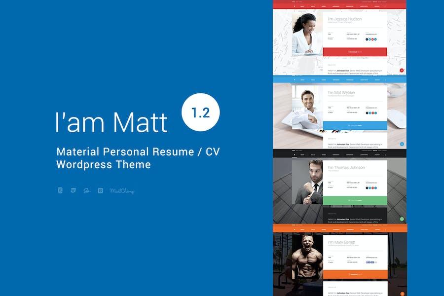 I am Mat - Material Personal WordPress
