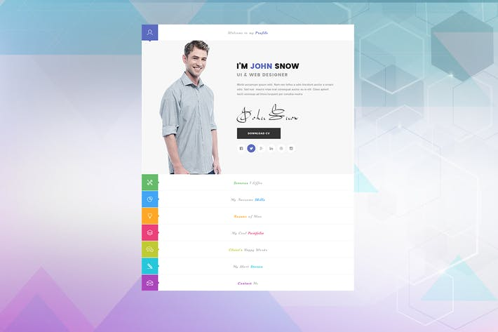 Thumbnail for JS - Creative Resume Portfolio PSD Template