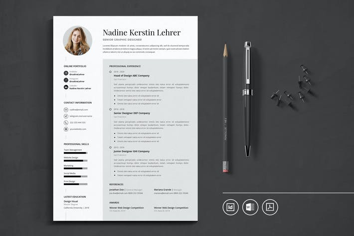 Thumbnail for Professional CV Resume Indesign Template Vol.51