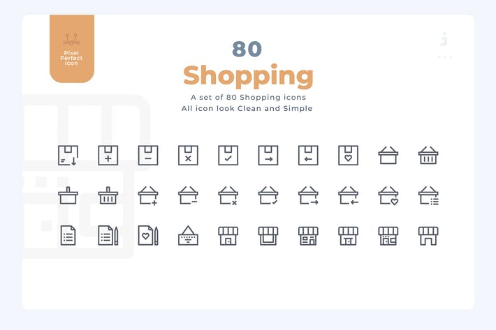 Thumbnail for 80 Shopping Icons - Material Icon