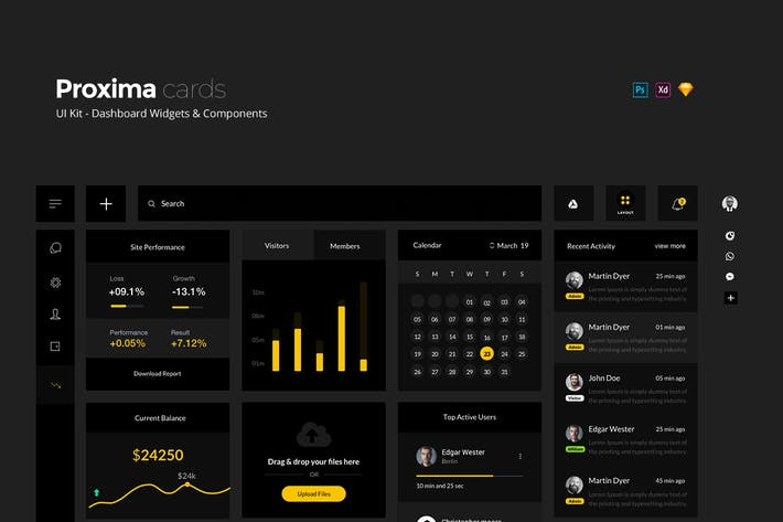 Thumbnail for Proxima UI Kit - Dashboard Widgets + Components