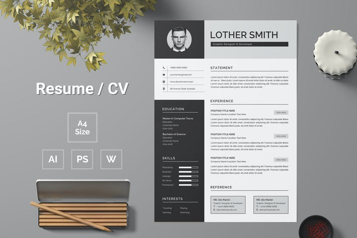 Thumbnail for Professional and Modern CV / Resume Template - 163