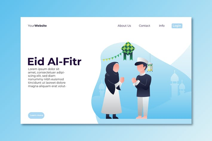 Eid Al Fitr Landing Page Illustration
