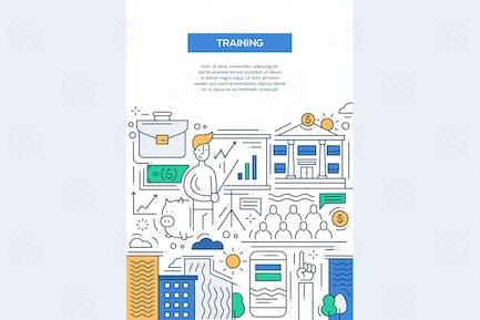 Formación Negocios - póster de Folleto de Diseño de línea