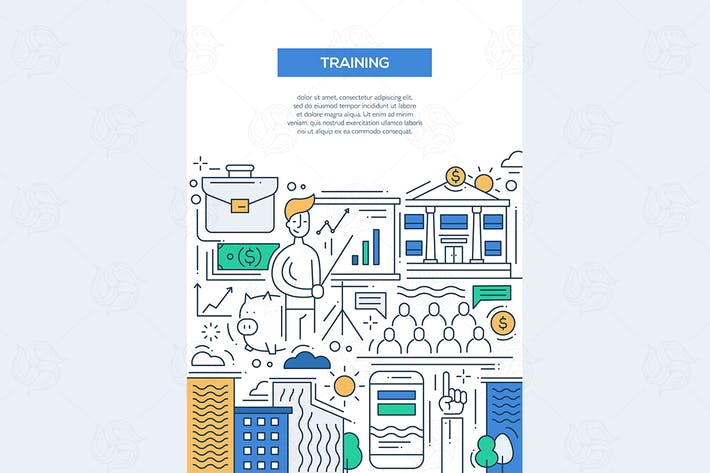 Thumbnail for Business Training - line design brochure poster