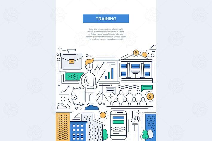 Thumbnail for Business Training - line design brochure poster