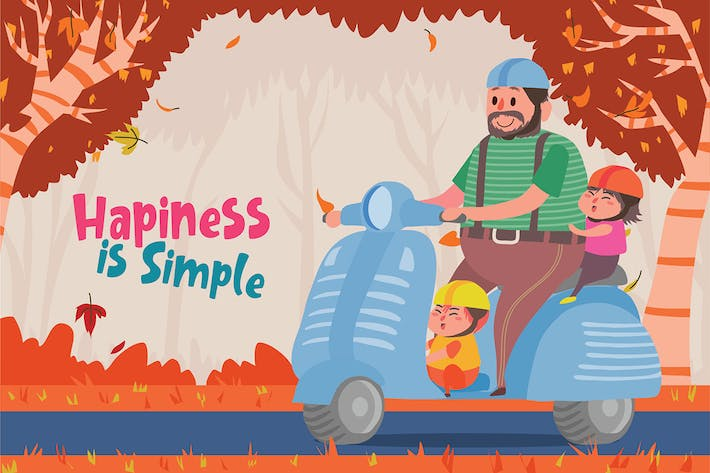 Thumbnail for Hapiness is Simple - Vector Illustration