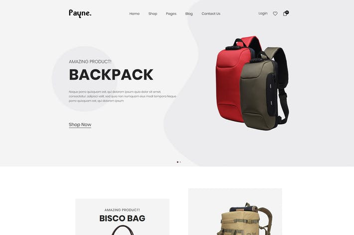 Cover Image For Payne - Backpack eCommerce HTML Template